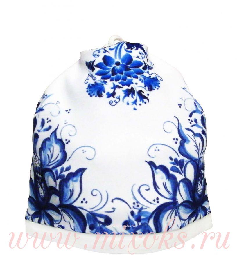 """Шапка-шарф """"Гжель с цветами"""" белая"""