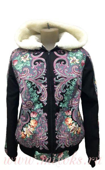 """Куртка из овчины с капюшоном """"Фантазия"""""""